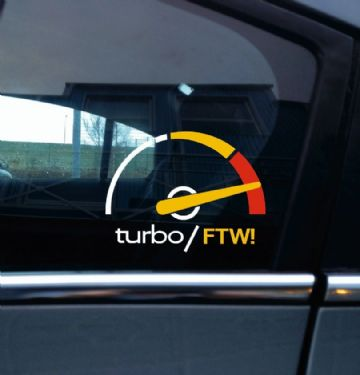 Turbo FTW, (for the win) boost gauge style sticker -retro saab 900 / 9000 turbo